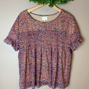 Anthropologie Deletta floral gathered short sleeve